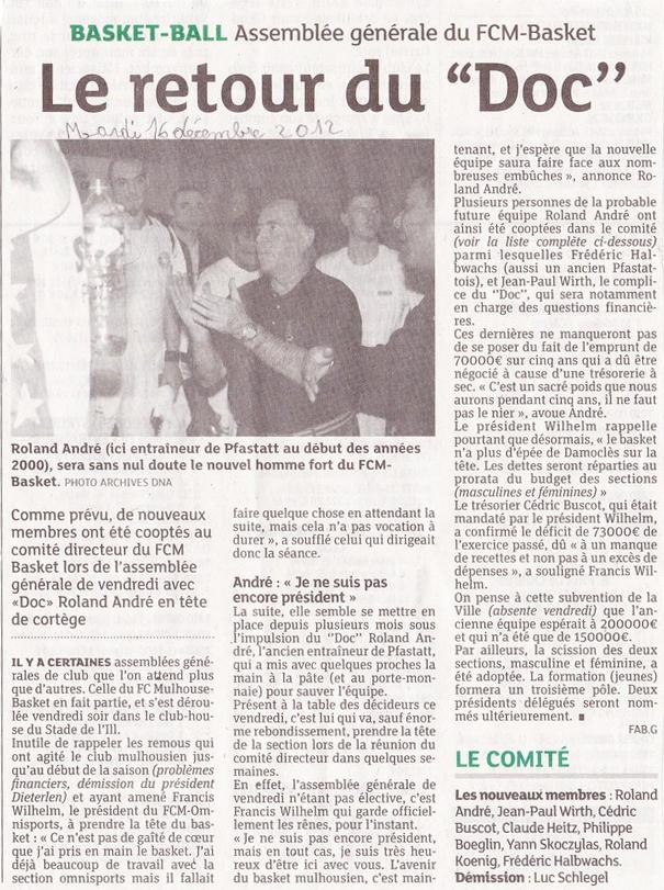 Suivi des Assemblées Générales (saison 2012/2013) : FCM 1893 & FCM Basket 121216-DN