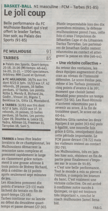 [J.07] FC MULHOUSE - Union Tarbes Lourdes Pyrenees Basket : 91-85 2015-10-31_DNA